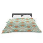 "Alison Coxon ""Moorish Teal"" White Teal Featherweight3D Customize Bedding Set Duvet Cover SetBedroom Set Bedlinen"