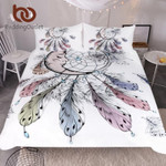 Moon Dreamcatcher  Queenize Feathers  White et Beautiful Bedclothes 3D Customize Bedding Set/ Duvet Cover Set/  Bedroom Set/ Bedlinen