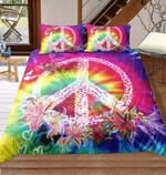 Tie Dye Hippie Peaceymbol, Lilly & Butterfly 3D Customize Bedding Set Duvet Cover SetBedroom Set Bedlinen