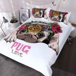 Blessliving Trendy PuppyLove Pug Rose et Queenweet Valentine's Day Gift Kawaiifor Dog Lover3D Customize Bedding Set Duvet Cover SetBedroom Set Bedlinen