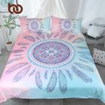 Mandala  Pink and Blue  Feathers et Bohemian Printed Bedclothes 3D Customize Bedding Set/ Duvet Cover Set/  Bedroom Set/ Bedlinen