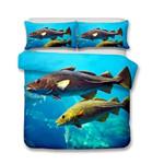 3D Design Fish Pattern QueenDuvet Cover Pillow CoverlUnderwater World Kingize 3D Customize Bedding Set Duvet Cover SetBedroom Set Bedlinen