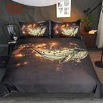 Golden Whale  Queen Luxurious  Cartoon Animal Bedclothes Adultshining Home Textiles 3D Customize Bedding Set/ Duvet Cover Set/  Bedroom Set/ Bedlinen