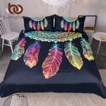 Dreamcatcher  King Colorful Feathers  Bohemian Mandala Bedclothes  Black Home Textiles3D Customize Bedding Set/ Duvet Cover Set/  Bedroom Set/ Bedlinen