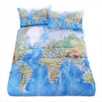 World MapVivid Printed Blue Bedwith Pillow Coversoft Cozy Home Textiles AUIZE 3D Customize Bedding Set Duvet Cover SetBedroom Set Bedlinen
