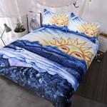 BlessLiving Abstract Costal Beach  Morningun Over Ocean  3 Piece Blue White Natural Inspired et3D Customize Bedding Set/ Duvet Cover Set/  Bedroom Set/ Bedlinen