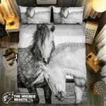 Black And White Horse Couple #092103 3D Customize Bedding Set Duvet Cover SetBedroom Set Bedlinen