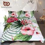 FlowersLeaves et Tropical Plants Home TextilesRed Green White Bedclothes3D Customize Bedding Set Duvet Cover SetBedroom Set Bedlinen