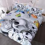 Black & Whitekull With Colourful Butterflies 3D Customize Bedding Set Duvet Cover SetBedroom Set Bedlinen