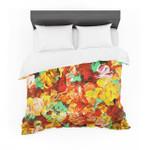 "Ebi Emporium ""Floral Fantasy II"" Orange Yellow Featherweight3D Customize Bedding Set Duvet Cover SetBedroom Set Bedlinen"