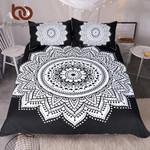Mandala PrintQueenize Floral PatternBlack and White Bohemian Bedclothes Lotus et3D Customize Bedding Set Duvet Cover SetBedroom Set Bedlinen