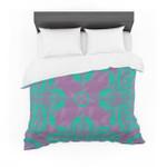 "Nanditaingh ""Motifs in Green"" Purple Floral Cotton3D Customize Bedding Set Duvet Cover SetBedroom Set Bedlinen"