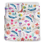 Watercolor Oceanwith Whales and Fish3D Customize Bedding Set Duvet Cover SetBedroom Set Bedlinen