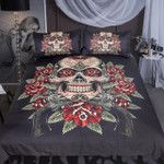 FloralkullKing Vintageugarkull Gothic Bedclothes Flowers Black White et3D Customize Bedding Set Duvet Cover SetBedroom Set Bedlinen