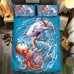 The Battle Ofhark And Octopus3D Customize Bedding Set Duvet Cover SetBedroom Set Bedlinen