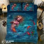 DefaultMermaid Goldfishs3D Customize Bedding Set Duvet Cover SetBedroom Set Bedlinen