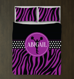 Zebra Print Custom Cheerleading With NamePurple and Black3D Customize Bedding Set Duvet Cover SetBedroom Set Bedlinen