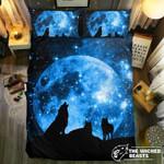 Wolves Howling Blue Moon3D Customize Bedding Set Duvet Cover SetBedroom Set Bedlinen