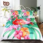FlamingoTropical Plant Duvet Cover Cover Kingize Home et Flower Print Pink and Green Bedclothes 3D Customize Bedding Set Duvet Cover SetBedroom Set Bedlinen