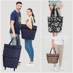 Dolly Foldable Reusable Rolling Lightweight Shopping Trolley Tote Bag with Wheels