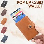 Gemma RFID Blocking Leather Pop-Up Vintage Wallet Credit Card Holder
