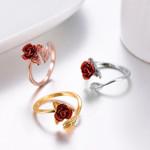Women Ring Red Rose Garden Flower Leaves Open Ring Resizable Finger Rings For Women Valentine's Day Gift Jewelry