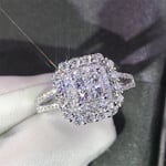 Huitan Gorgeous Square Shape Women Ring Full Bling Iced Out Micro Pave Crystal Zircon Dazzling Bridal Ring Wedding Engage Ring