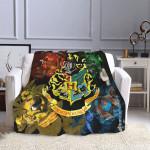 Harry Potter Hogwarts Slytherin Ravenclaw Hufflepuff Gryffindor Blanket