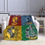 Harry Potter Slytherin Ravenclaw Hufflepuff Gryffindor Fleece Blanket