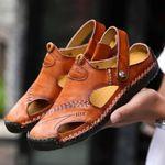 Sandalias de exterior transpirables para hombres grandes en piel suave