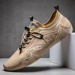 Zapatos de cuero cosidos a mano, casuales y transpirables