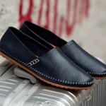 Zapatos de conducción hechos a mano - costura de cuero de vaca