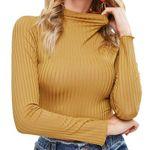 Camiseta de punto de manga larga de color sólido