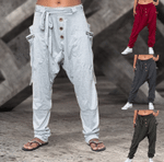 Pantalones de harén casuales con banda elástica en color sólido