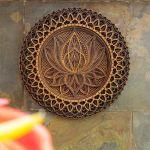 Flor de loto de madera Mandala Art Wall