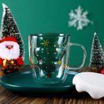 🎅 Taza de café de cristal con un bonito árbol de Navidad doble🎄- Regalo de Navidad�