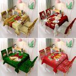 Decoración de manteles y sillas de Navidad