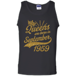 Shop Queens born in September 1959 59th Birthday Unisex Tank Top
