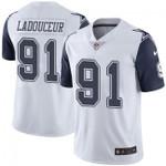 Cowboys #91 L. P. Ladouceur White Team Color V-neck Short-sleeve Jersey For Fans