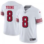 49ers #8 Steve Young White Team Color V-neck Short-sleeve Jersey For Fans