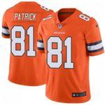 Broncos #81 Tim Patrick Orange Team Color V-neck Short-sleeve Jersey For Fans