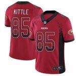 49ers #85 George Kittle Red Team Color V-neck Short-sleeve Jersey For Fans