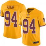 Redskins #94 Da'Ron Payne Gold Team Color V-neck Short-sleeve Jersey For Fans
