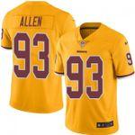 Redskins #93 Jonathan Allen Gold Team Color V-neck Short-sleeve Jersey For Fans