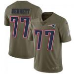 Patriots #77 Michael Bennett Navy Blue Team Color V-neck Short-sleeve Jersey For Fans