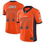 Broncos #77 Sam Jones Orange Team Color V-neck Short-sleeve Jersey For Fans
