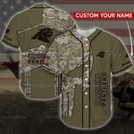 NFL Carolina Panthers Camo 3D  Baseball Shirt