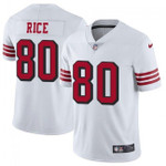 49ers #80 Jerry Rice White Team Color V-neck Short-sleeve Jersey For Fans