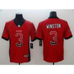 Buccaneers #3 Jameis Winston Red Team Color V-neck Short-sleeve Jersey For Fans