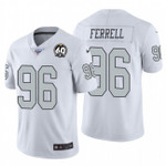 Raiders #96 Clelin Ferrell White 60th Anniversary Patch Team Color V-neck Short-sleeve Jersey For Fans